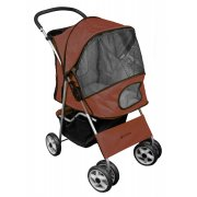 Deluxe 4 Wheel Pet Stroller Chocolate Brown