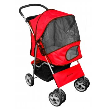 Deluxe 4 Wheel Pet Stroller Flame Red