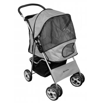Deluxe 4 Wheel Pet Stroller Platinum Grey