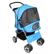 Deluxe 4 Wheel Pet Stroller Sky Blue