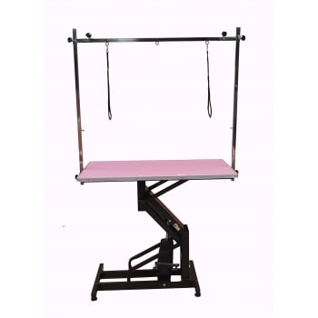 """Emperor PINK - Emperor 42"""" Hydraulic Grooming Table with H-Frame"""