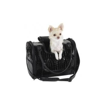 Zach and Zoey Zack & Zoey Croco Pet Carrier in Black